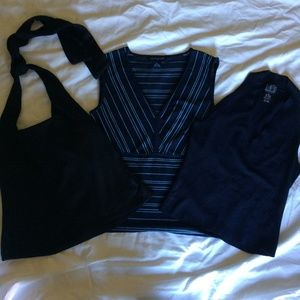 Tops - Set of 3 Summer Tops, Black & Blue, Size XS-S